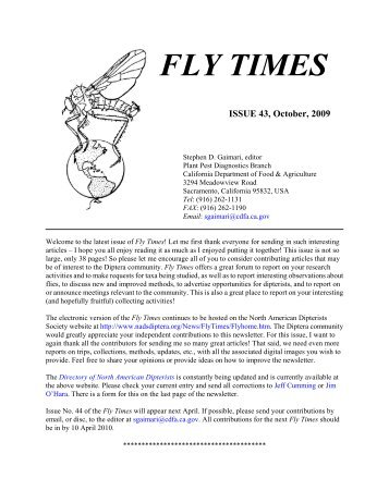 Fly Times Issue 43, October 2009 - North American Dipterists Society