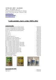 Ceník autolaky, barvy a laky MIPA 2012 - Autolaky AREV