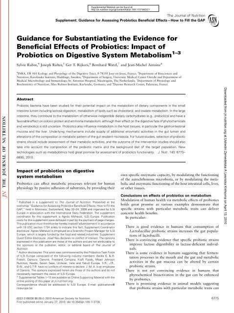 Guidance On Probiotics >> Guidance For Substantiating The Evidence For Beneficial