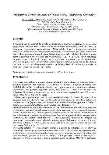 Proliferação Celular em Discos de Titânio Grau 2 ... - SABI - 2011