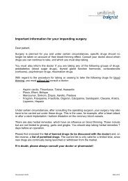 Important information for your impending surgery