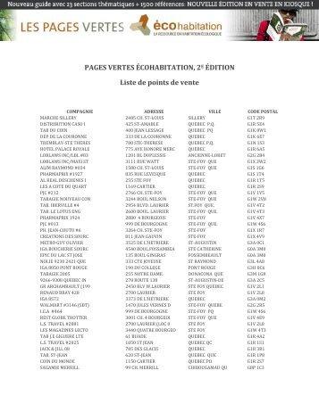 PAGES VERTES ÉCOHABITATION, 2 ÉDITION Liste de points de vente