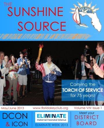 Florida Key Club's Sunshine Source Vol IX No 1 May 2013