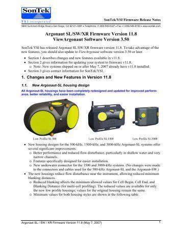 SonTek/YSI Argonaut-XR Technical Manual - HydroScientific West