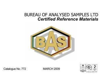 Certified reference materials bureau of analysed samples for Bureau limited