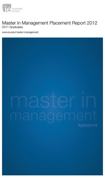 Master in Management Placement Report 2012 - IE University