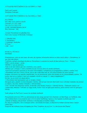 ATIVADOR PSICOTRÔNICO DA GLÂNDULA TIMO - Mattron