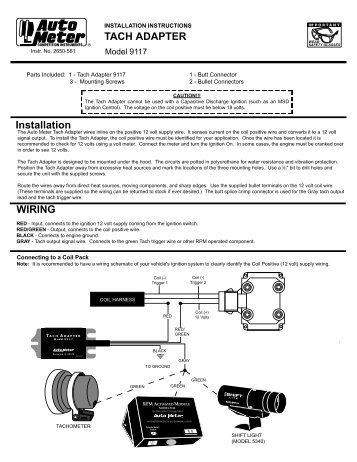 Auto Meter 9117 Tachometer Adapter Installation Instructions - Jegs