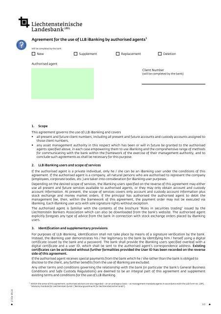 iBanking - Vertrag zur Nutzung durch Verwaltungsbevollm