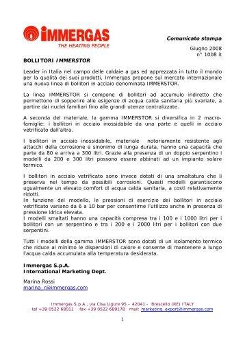 Comunicato stampa Giugno 2008 n° 1008 it BOLLITORI ...