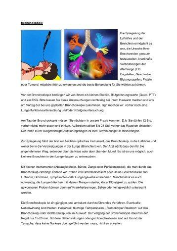 Bronchoskopie Die Spiegelung der Luftröhre und der Bronchien ...
