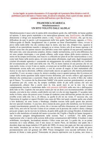 Francesca scarrica metafonicamente il grande dono di sant for Metafonicamente it