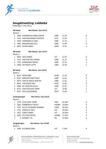 Uitslag - Koninklijke Atletiekclub Lebbeke