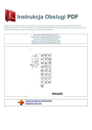 Instrukcja obsługi PHILIPS QG3150 - INSTRUKCJA OBSLUGI PDF