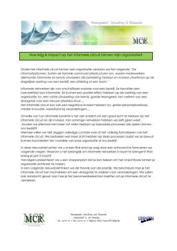 Nieuwsbrief Informele circuits - Mcr Bvba
