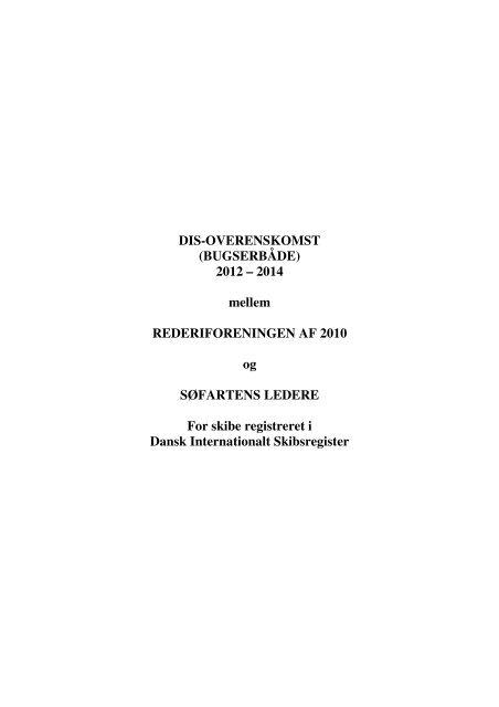 DIS-OVERENSKOMST (BUGSERBÅDE) 2012 ... - Søfartens Ledere