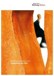 RheinEnergie Stiftung Kultur Tätigkeitsbericht 2009