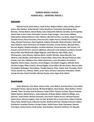 SOMERS MIDDLE SCHOOL HONOR ROLL – MARKING PERIOD 1