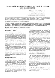the study of aluminium eloxation from sulphuric acid electrolyte - Agir