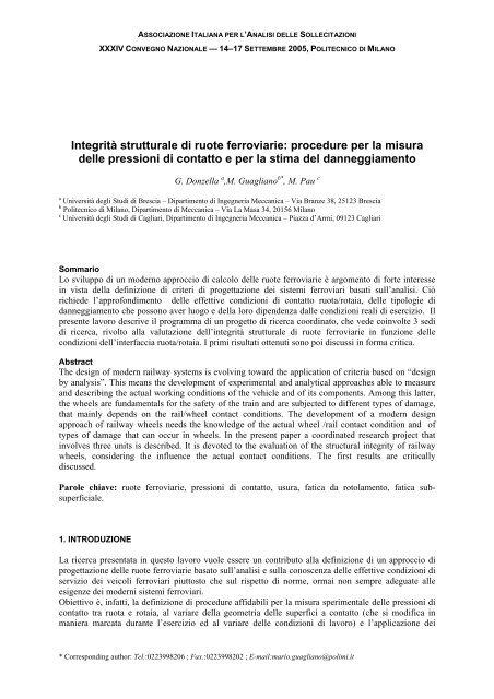 Integrità strutturale di ruote ferroviarie: procedure per la ... - AIAS