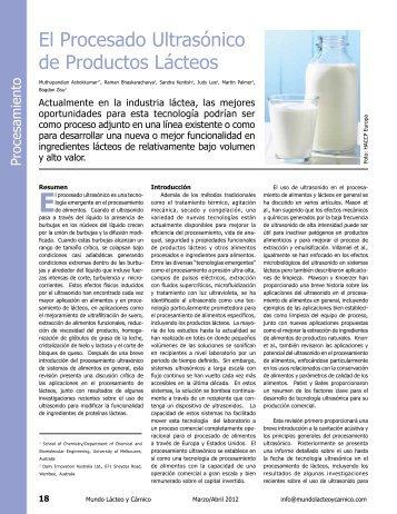 El Procesado Ultrasónico de Productos Lácteos