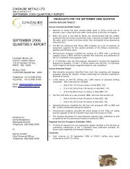 SEPTEMBER 2006 QUARTERLY REPORT - Gindalbie Metals Ltd