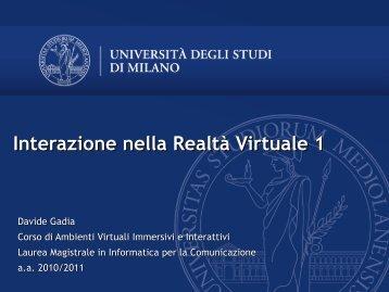 Interazione nella Realtà Virtuale 1