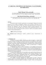 a variável científico-tecnológica na economia do mercosul - Abepro