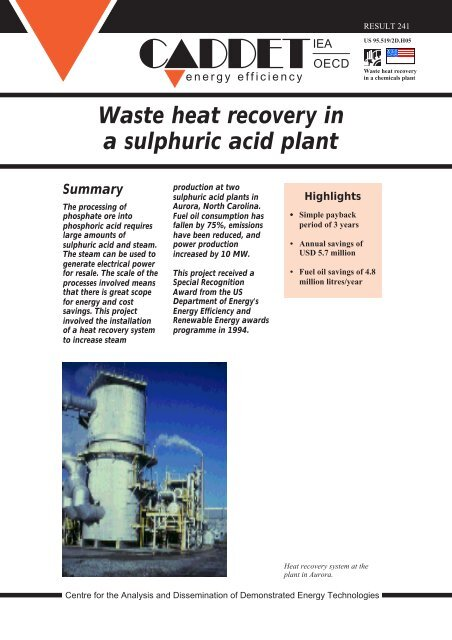 Waste heat recovery in a sulphuric acid plant