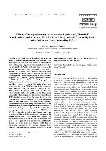 Effects of Intraperitoneally Administered Lipoic Acid, Vitamin E, and ...