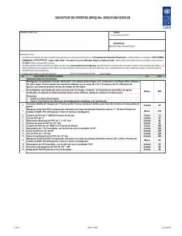 SOLICITUD DE OFERTAS (RFQ) No. SDO/CUB/10/011B