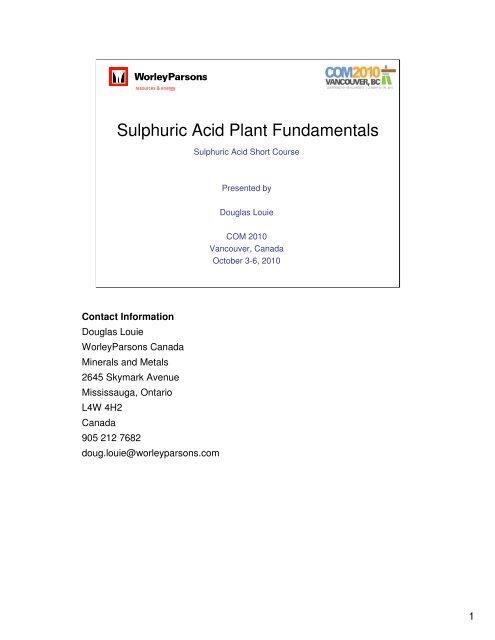 Sulphuric Acid Plant Fundamentals - Sulphuric Acid on the Web