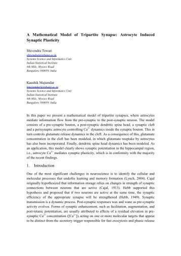A Mathematical Model of Tripartite Synapse: Astrocyte Induced ...