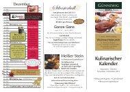 Kulinarischer Kalender - bei den Günnewig Hotels und Restaurants