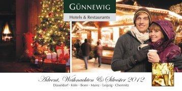 Weihnachtsflyer 2011 - bei den Günnewig Hotels und Restaurants
