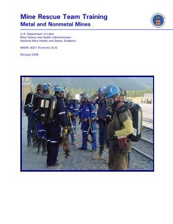 MSHA - Mine Rescue Instruction Guide (IG) Series - MSHA 3027 ...