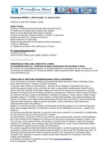 Primazona NEWS n. 20 di lunedì 11 marzo 2013 Indirizzo e.mail del ...
