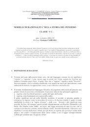 modelli di razionalita' nella storia del pensiero - Portale Filosofico