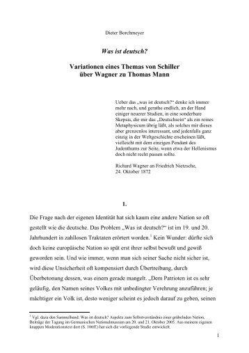 Was ist deutsch? - Thomas-Mann-Förderkreis München eV