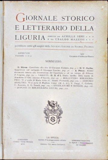 E LETTERARIO DELLA - Società Ligure di Storia Patria
