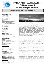 2nd Sun of Lent 24th Feb - Diocese of Broken Bay