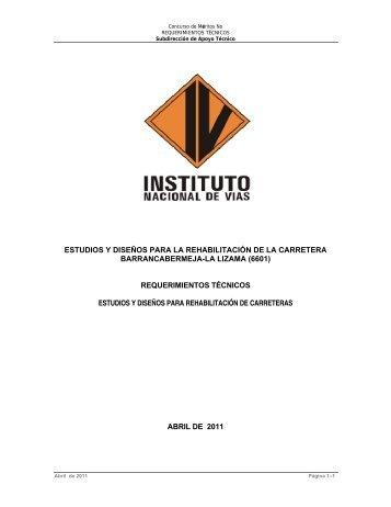 estudios y diseños para la rehabilitación de la carretera ...