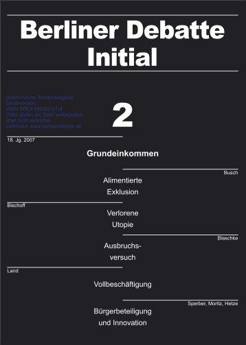Grundeinkommen - Rainer Land Online Texte