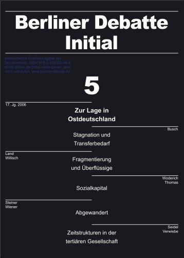 Zur Lage in Ostdeutschland - Rainer Land Online Texte