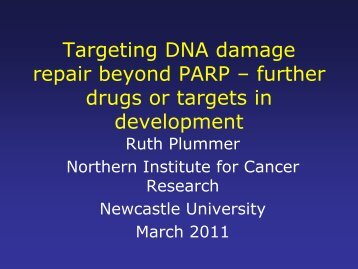 Targeting DNA damage repair beyond PARP