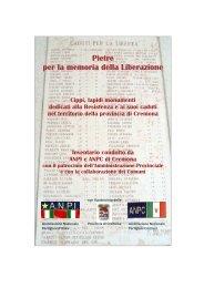 Pietre per la memoria - ANPI Cremona