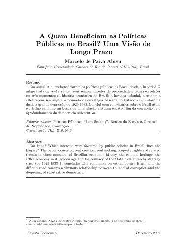 A Quem Beneficiam as Políticas Públicas no Brasil? Uma Visão de Longo Prazo