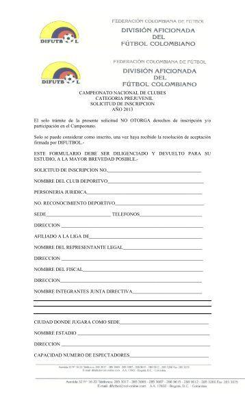 Formulario de Inscripción Categoría Masculino SUB 17 - Difutbol