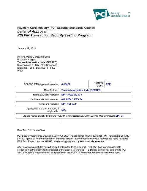 Letter of Approval PCI PIN Transaction Security Testing