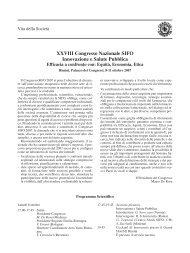 XXVIII Congresso Nazionale SIFO Innovazione e ... - Bollettino SIFO